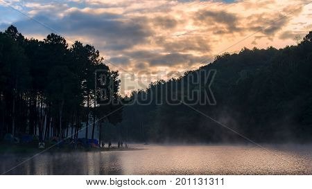 Morning in Pang Ung LakeNorth of Thailand is a tourist place where people come to vacation in the winter soft and select focus