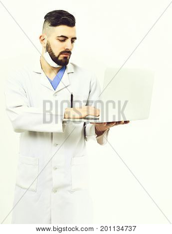 Man With Busy Face Expression In White Coat
