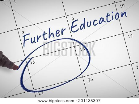 Digital composite of Further Education Text written on calendar with marker