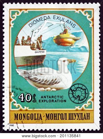 MONGOLIA - CIRCA 1980: a stamp printed in Mongolia shows the Wandering Albatross Diomedea Exulans is a Large Seabird circa 1980