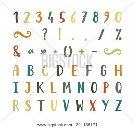 Handwritten bold grunge font with punctuation marks on white background. Uppercase font contains question mark, exclamation point, period, comma, dash, hyphen, bracket etc. Vector illustration.