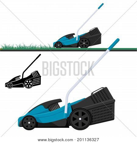 Lawn mower cutting grass isolated vector illustration. Lawnmower black silhouette.