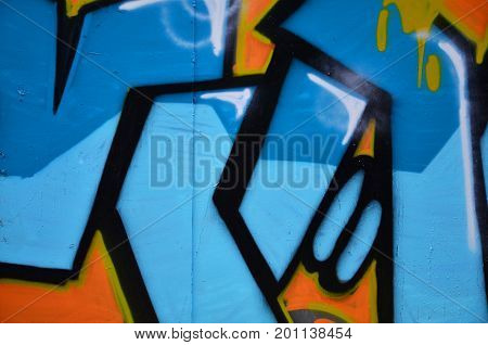 The Old Wall, Painted In Color Graffiti Drawing Blue Aerosol Paints. Background Image On The Theme O