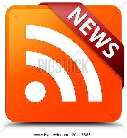 News (rss Icon) Orange Square Button Red Ribbon In Corner
