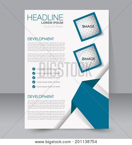 Business brochure template. Flyer design. Annual report cover. Booklet for education, advertisement, presentation, magazine page. a4 size vector illustration. Blue color.