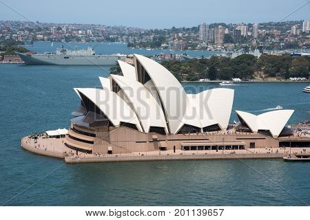 SYDNEY,NSW,AUSTRALIA-NOVEMBER 20,2016: Sydney Opera House at Bennelong Point with nautical vessels in Sydney, Australia