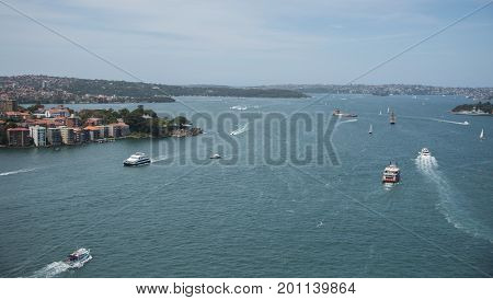 SYDNEY,NSW,AUSTRALIA-NOVEMBER 20,2016: Elevated view over nautical vessels and Fort Denison in the Parramatta River in Sydney, Australia.