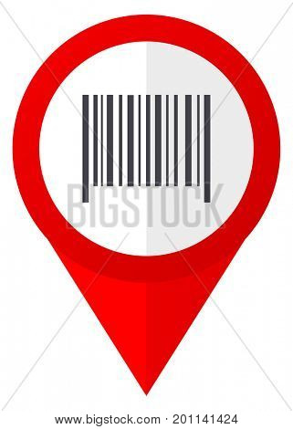 Barcode red web pointer icon. Webdesign button on white background.