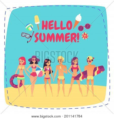 Hello summer. Company of young people on beach. Fashion happy people. Vector illustration
