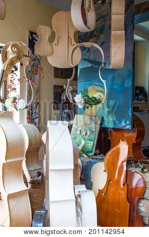 Cremona Italy - May 14 2013: A liuther shopwindow in the old town center