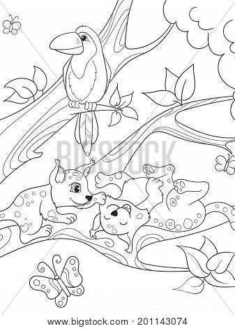 Childrens coloring book cartoon family of leopards on nature. For adults vector illustration. Anti-stress for adult. Black and white lines