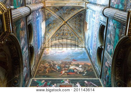 Cremona Italy - May 14 2013: The interior of the cathedral with frescoes by various artists of the sixteenth century