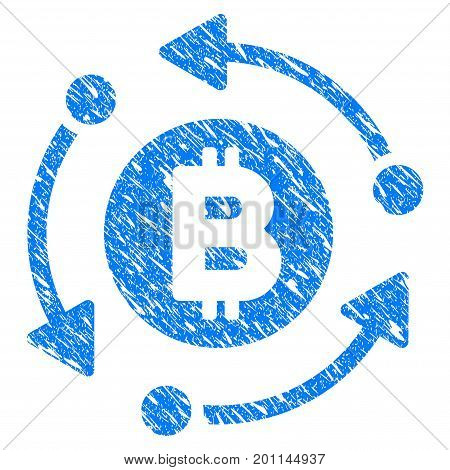 Grunge Bitcoin Rotation Arrows icon with grunge design and dust texture. Unclean vector blue pictogram for rubber seal stamp imitations and watermarks. Draft sign symbol.