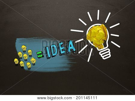 Digital composite of Many little lightbulbs equals idea and big light bulb with crumpled paper with blackboard