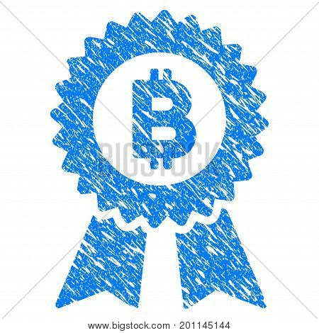Grunge Bitcoin Seal With Ribbons icon with grunge design and dust texture. Unclean vector blue pictogram for rubber seal stamp imitations and watermarks. Draft sign symbol.