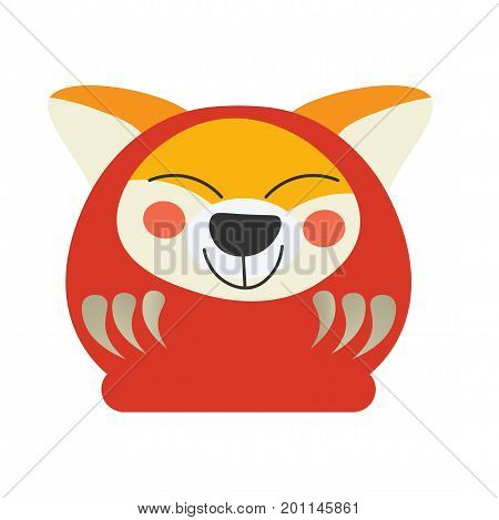Cute Japanese Traditional Daruma Doll with a Akita dog face. Great as vector illustration for Lunar New Year of The Dog.