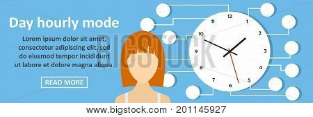 Day hourly mode banner horizontal concept. Flat illustration of day hourly mode banner horizontal vector concept for web