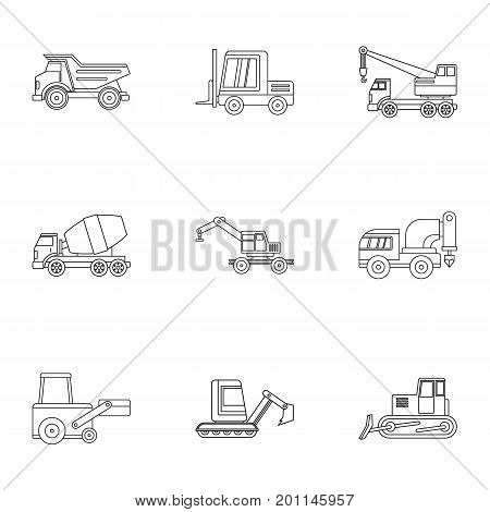 Industrial vehicle icon set. Outline set of 9 industrial vehicle vector icons for web isolated on white background