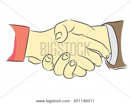 Shaking hands flat design concept. Handshake business agreement partnership concepts. Two hands shaking each other-Vector illustration.