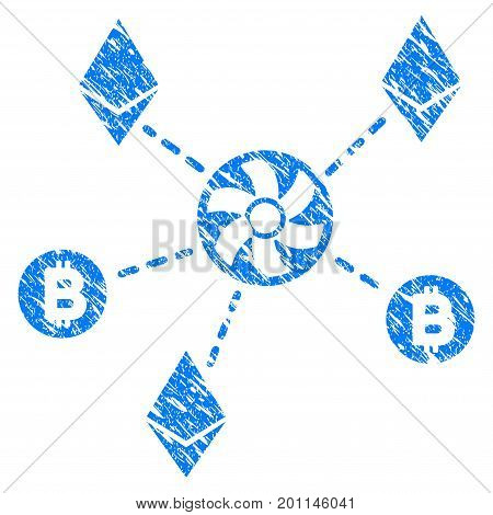 Grunge Cryptocurrency Blender Rotor icon with grunge design and dirty texture. Unclean vector blue pictogram for rubber seal stamp imitations and watermarks. Draft sign symbol.