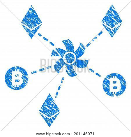 Grunge Cryptocurrency Mixer Rotor icon with grunge design and unclean texture. Unclean vector blue pictogram for rubber seal stamp imitations and watermarks. Draft emblem symbol.