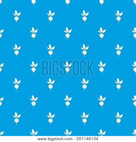 Fresh radish pattern repeat seamless in blue color for any design. Vector geometric illustration