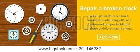 Repair a broken clock banner horizontal concept. Flat illustration of repair a broken clock banner horizontal vector concept for web