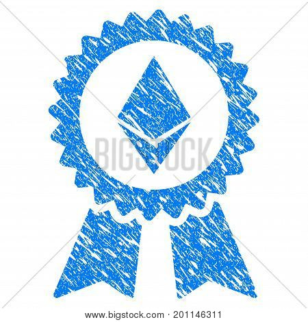 Grunge Ethereum Award Seal icon with grunge design and dust texture. Unclean vector blue pictogram for rubber seal stamp imitations and watermarks. Draft sticker symbol.