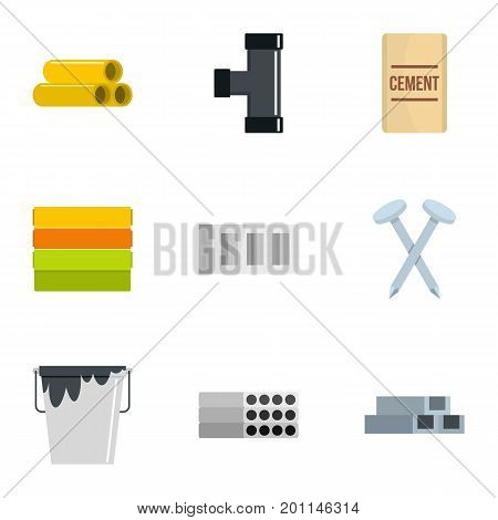 Building tool icon set. Flat set of 9 building tool vector icons for web isolated on white background