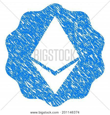 Grunge Ethereum Badge Seal icon with grunge design and dust texture. Unclean vector blue pictogram for rubber seal stamp imitations and watermarks. Draft sign symbol.