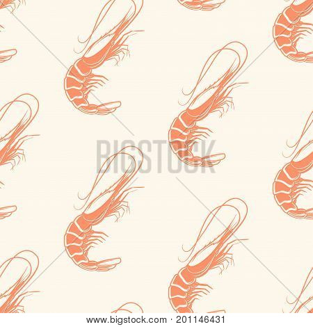 Seafood seamless pattern with Atlantic shrimps, vector illustration