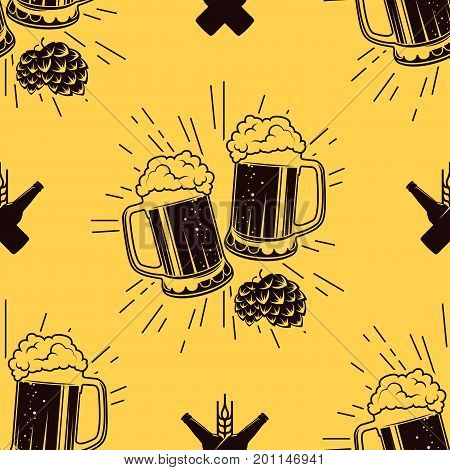 Seamless pattern with clinking glasses of beer, vector illustration