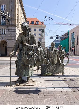 WROCLAW POLAND - AUGUST 15 2017: The Monument of An Anonymous Passerby