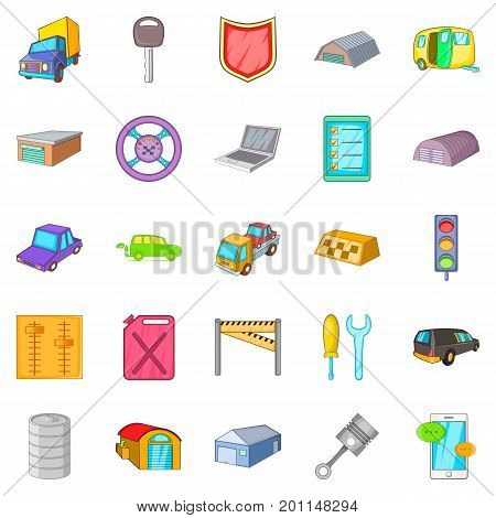 Garage icons set. Cartoon set of 25 garage vector icons for web isolated on white background