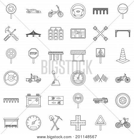 Crossroad icons set. Outline style of 36 crossroad vector icons for web isolated on white background