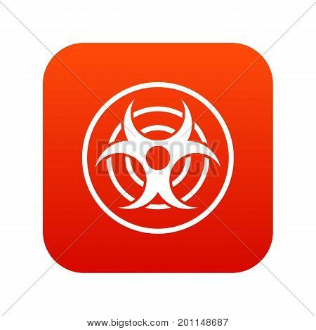 Sign of biological threat icon digital red for any design isolated on white vector illustration