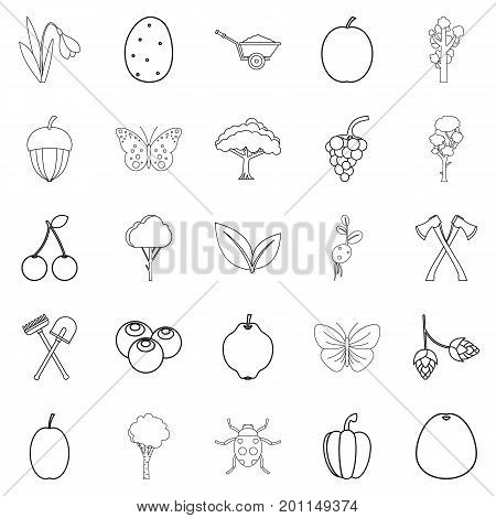 Cultivation icons set. Outline set of 25 cultivation vector icons for web isolated on white background