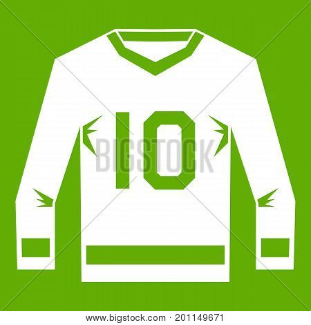 Hockey jersey icon white isolated on green background. Vector illustration