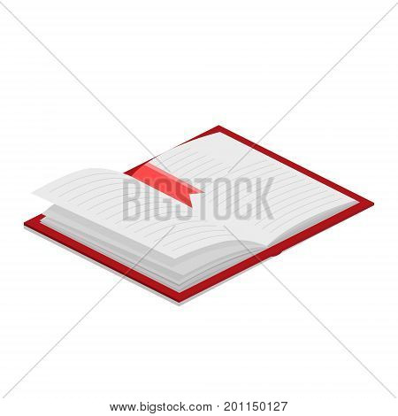 Open book with bookmark colorful minimalistic isometric style vector illustration
