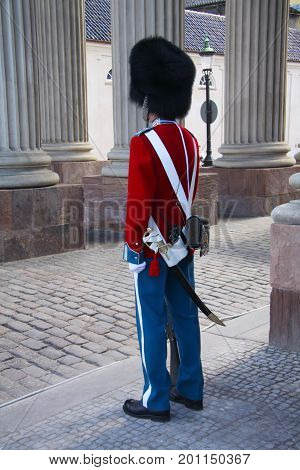 The guards of honour guarding the Royal residence Amalienborg Palace in Copenhagen, Denmark