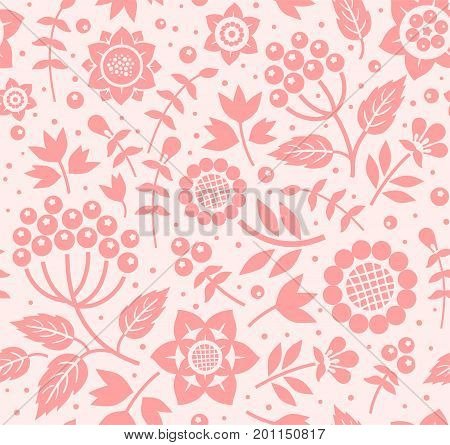 Berries and twigs, decorative background, seamless, pink, vector.  Dark pink decorative berries and twigs with leaves on a light pink background. Floral seamless pattern.
