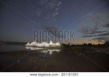 Mono Lake Tufas Illuminated At Night