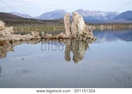 Mono Lake Tufa Reflecing In Calm Waters