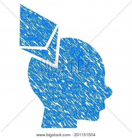 Grunge Ethereum Penetrated Head icon with grunge design and dirty texture. Unclean vector blue pictogram for rubber seal stamp imitations and watermarks. Draft sticker symbol.