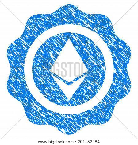 Grunge Ethereum Seal icon with grunge design and dust texture. Unclean vector blue pictogram for rubber seal stamp imitations and watermarks. Draft emblem symbol.