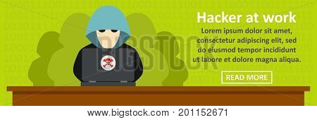 Hacker at work banner horizontal concept. Flat illustration of hacker at work banner horizontal vector concept for web