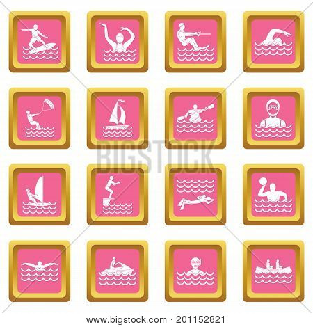 Water sport icons set in pink color isolated vector illustration for web and any design