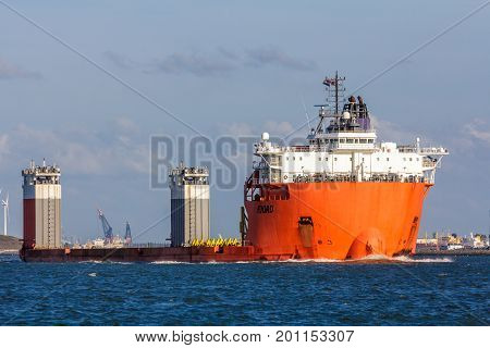 Hoek van Holland the Netherlands - 30 July 2017: Fjord heavy lift ship in Rotterdam harbor