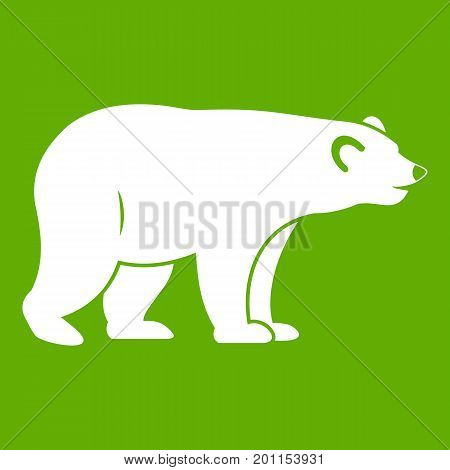 Wild bear icon white isolated on green background. Vector illustration