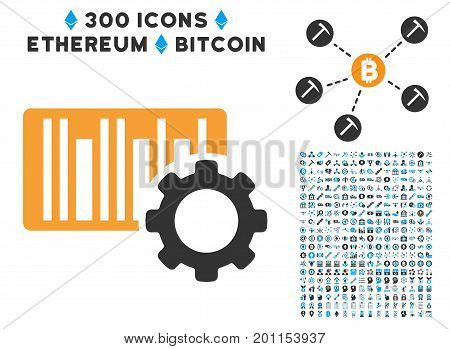 Bar Code Settings icon with 300 blockchain, bitcoin, ethereum, smart contract design elements. Vector illustration style is flat iconic symbols.